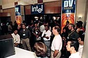 Crowds gather at the showroom entrance at DV `97. Photo courtesy of Miller Freeman. © photographer Mark Madeo.