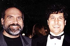 ASIFA-Hollywood president Antran Manoogian (right) and announcer Michael Mallory at the post-show reception.