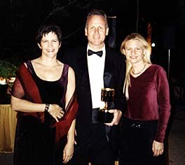 Annie Award winner Mike B. Anderson (Film Roman), center, with Celia Mercer (UCLA Animation Workshop), left, and Animation World Magazine Editor-in-Chief, Heather Kenyon, right. Photo © Animation World Network.