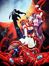 A young woman is engulfed by a tentacled monster in Lady Blue. © Central Park Media.