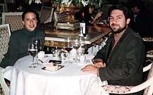Deborah Reber and Pierre Lambert enjoying dinner at Lespinasse in New York, October 1997. Photo © Deborah Reber 1997.