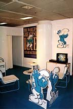 The Smurfs booth at MIPCOM `97, on the wall is a unique catch phrase,