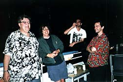 Late night on the deck. Left to right: Richard Hutchinson (U.K.), Gerben Schermer (Holland), Pedro Serrazina (Portugal), Chris Shepherd (U.K.). Photo © oTTo Alder.