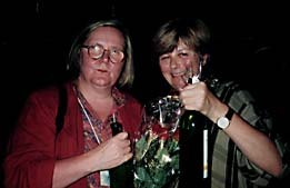 Marjut Rimminin (left) and Clare Kitson celebrate their win. © 1997 Animation World Network.