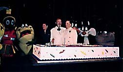Chuck Jones with his daughter Linda, admiring the 85th birthday cake, given to him by Warner Bros. © 1997 Animation World Network.