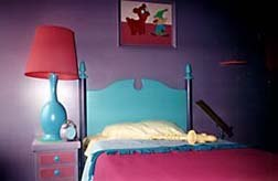 Lisa's room. Observe the saxophone on the bed. © 1997 Animation World Network.