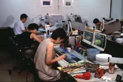 Background artists at HanHo Studio. Photo courtesy of HanHo Company Ltd
