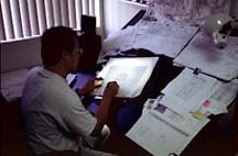A layout artist at Galaxy World animation studio (formerly Rainbow Animation). Photo courtesy of Galaxy World.