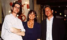 Left to right: Mo Willems, animator/director, Arlene Sherman, Supervising Producer on CTW's Sesame Street, and Abby Terkuhle, President of MTV Animation and Creative Director of MTV. Photo by Melissa Chimovitz. © 1997 A WN