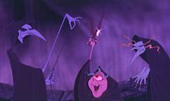 The Fates, characters of destiny, animated by Nancy Beiman for the film Hercules. © Disney.