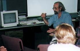 Animator Jonathan Amitay giving a masterclass presentation.