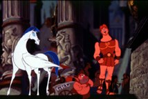 Pegasus the flying horse, Phil the hero-training satyr, and Hercules,the boy wonder enter the dark city of Thebes, aka