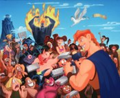In the film, Hercules becomes a celebrity and a merchandising phenomenon, proving Disney can playfully poke fun at their own game. © Disney Enterprises, Inc. All rights reserved.