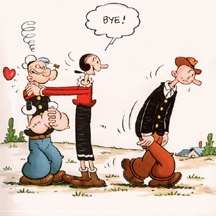 Olive Oyl ditches her beau Ham Gravy for Popeye. © King Features Syndicate Division.
