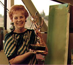 Phyllis with the Emmy award Film Roman won for the Garfield special, Babes in Bullets.
