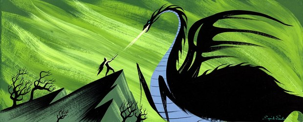 Concept art for Disney's 'Sleeping Beauty' by Eyvind Earle.