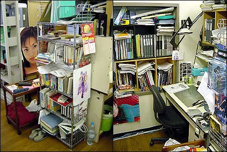 An example of the crowded work space and an animation director's desk.