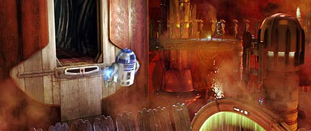 Making the CG R2-D2 move convincingly was the biggest hurdle for the Episode II team. Here, they send him flying. © Lucasfilm Ltd. & TM. All rights reserved. Digital work by Industrial Light & Magic.