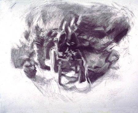 Table chez Nanou, 1978. Graphite on paper, 14