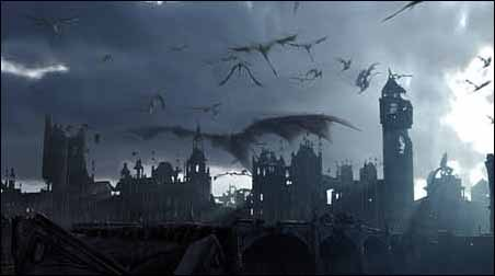 The Secret Lab studied flying dinosaurs before creating this dragon with a 300-foot wingspan and its offspring. Here, they fly high over the ruins of London, having burnt Big Ben and Parliament to ash. All images © Spyglass Entertainment Group,