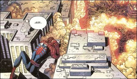 Spider-man surveys the ruins of the Twin Towers in The Amazing Spider-man #36.