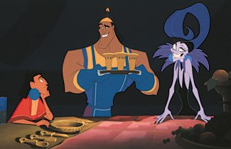Mistaken identity is used as a comedy device in The Emperor's New Groove. © Walt Disney Pictures. All rights reserved.