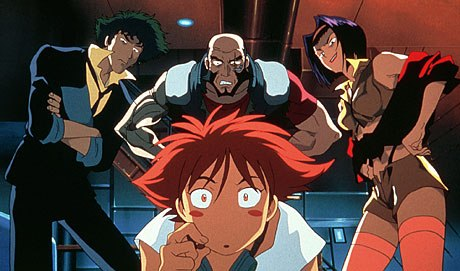 Cowboy Bebop: The Movie is finally here. The bounty hunters (clockwise from top) Jet Black, Faye Valentine, Edward Wong and Spike Spiegel track terrorists. Courtesy of Destination Films and Samuel Goldwyn Films, unless otherwise noted.