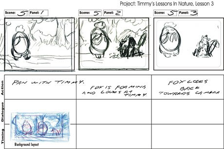 A page of storyboards with the layout taped on the bottom for reference.