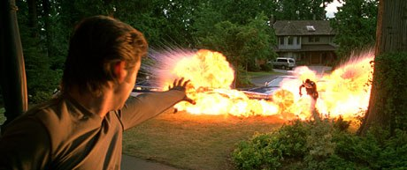 Pyro (Aaron Stanford) shows off his fire power. Photo credit: CINESITE.