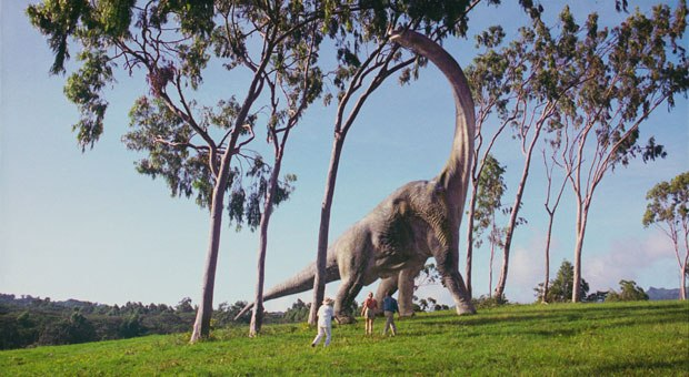 [Figure 1] A dinosaur with light coming from behind to better identify its outline in the 1993 film Jurassic Park. All Jurassic Park images © 2002 by Universal Studios. Courtesy of Universal Studios Publishing Rights, a Divi