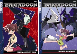 Normal 13-year-old Marin is saved by giant robot Melan Blue in Brigadoon. ©SUNRISE  WOWOW This product is manufactured and distributed by TOKYOPOP® under the license by Sunrise, Inc.© TOKYOPOP. All rights reserved.