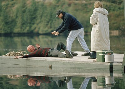 Blocking the Scene  Director Ronny Yu (middle) blocks the scene with Robert Englund (on the ground) and Monica Keena (right). All images courtesy of Digital Dimension © 2003 James Dittiger/New Line Productions.