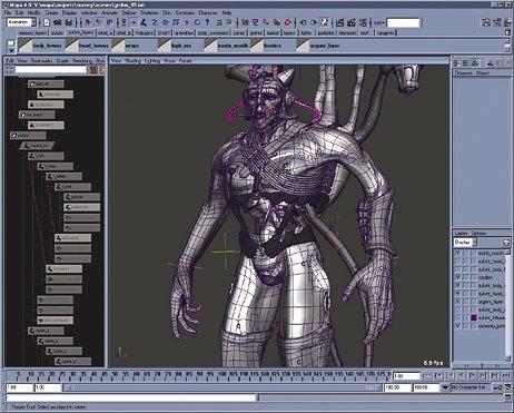 Screen capture from Maya of work from Gnomons Kinematics I. © Gnomon Workshop.