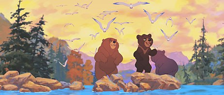 Kenai and Koda arrive at the annual salmon run to join up with their extended bear family and swap exciting stories. All images © Buena Vista Pictures Distribution. All rights reserved.