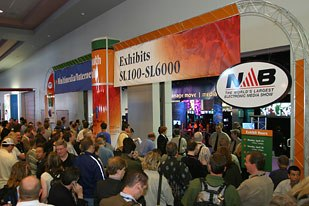 Opening day in the Exhibition Hall at NAB2004. The buzzword this year was interoperability. All NAB photos © National Assn. of Broadcasters. All rights reserved.