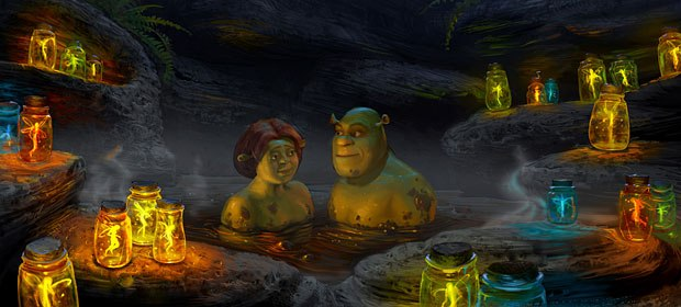 Fiona and Shrek enjoy a muddy honeymoon. Visual development design by Huy Nguyen. All images courtesy of DreamWorks Pictures.