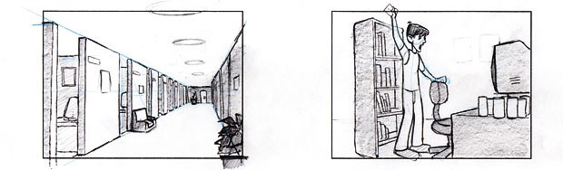 [Figure 1] Storyboards for CG animation shots SF-00 and SF-01.