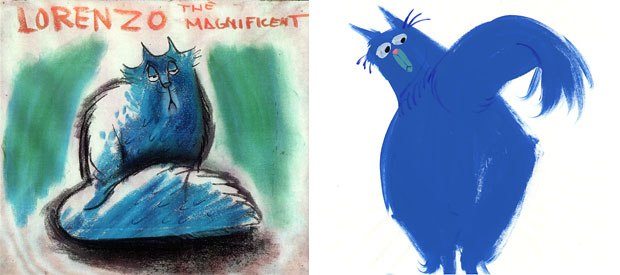 Mike Gabriels goal was to keep the attitude Joe Grant gave to Lorenzo (left). Mike kept the cats long face, which gives off an air of haughtiness. (right). All images © Disney.
