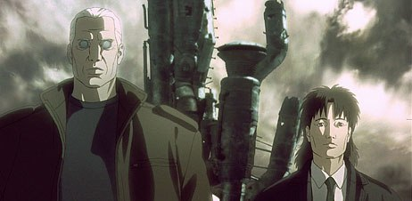 Detective Batou partners with rookie Togusa (right) in Public Security Section 9s investigation of murderous gynoids.