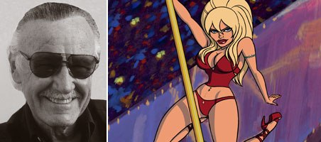 Stan Lee (left) and multimedia content publisher Vidiator Technology are partnering to present Lees creations, under the his POW! brand. Content includes Stripperella and other original characters. © Spike TV.