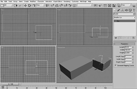 [Figure 1] Stacking Boxes. The four views in 3ds max.