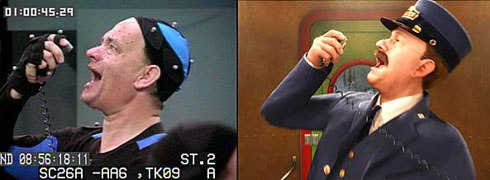 Computers soften details like tension in the neck muscle. The artist can capture that tension. Above, Tom Hanks mocaps the conductor in Polar Express. © 2004 Warner Bros. Ent. Inc.