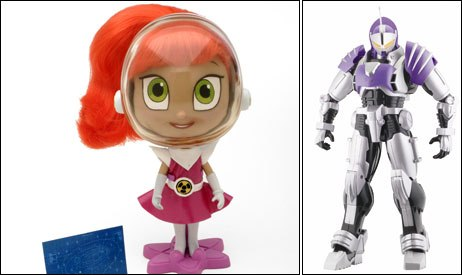 Atomic Betty (left) and D.I.C.E. represented animated TV shows making the leap to licensed properties. ©2005 Atomic Cartoon Inc. Distributed by Playmates Toys Inc. (left) and © Bandai America Inc.
