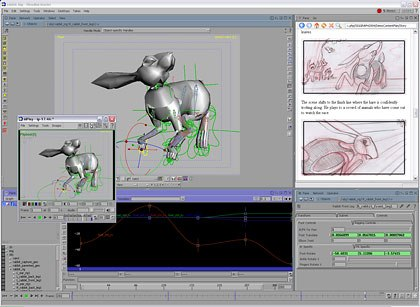 Houdini's powerful character tools include the new channel editor (shown here). Also shown is Houdinis new Flipbook keyframe feature that allows the animator to make quick timing decisions. All images © Side Effects Software.