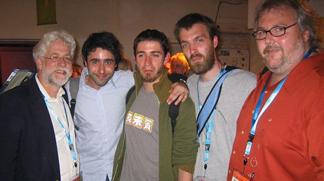 AWN publishers Ron Diamond (far left) and Dan Sarto (far right) with the young filmmakers behind the award-winning short, Overtime.