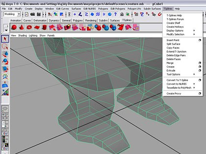 Getting T-Splines set up takes a bit of grunt work, but nothing an average user cant handle. Once installed, youll find a T-Splines menu and a shelf containing just about everything youll need to access when creating T-Splines model