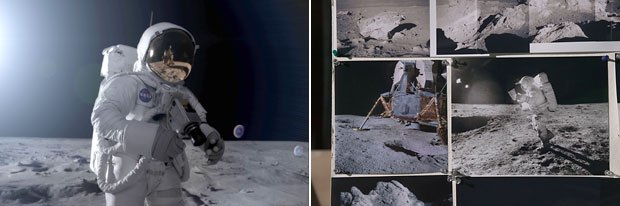 The lunar surface was assembled from NASA photos (right) taken from the astronauts Hasselblad cameras, as seen in this re-creation (left) for the film. All images © 2005 IMAX Corp. and Playtone.