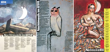 Some posters Edelmann designed for Nachtmusik im WDR, a series of late night concerts in Germany in the 1990s.