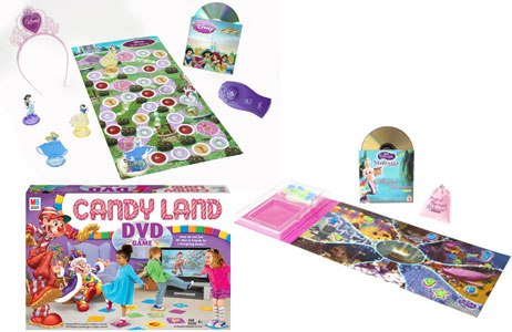 Mattel and Hasbro each highlighted DVD games. Mattel offered Disney Princesses (left) and Barbie Fairytopia (right), while Hasbro had a version of Candyland. Courtesy of Mattel and Hasbro.