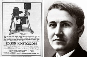 Thomas Edison (above) and his new sensation the Kinestoscope inspired James Stuart Blackton to experiment with filming frame-by-frame drawings. The two men eventually made the first animated film together.